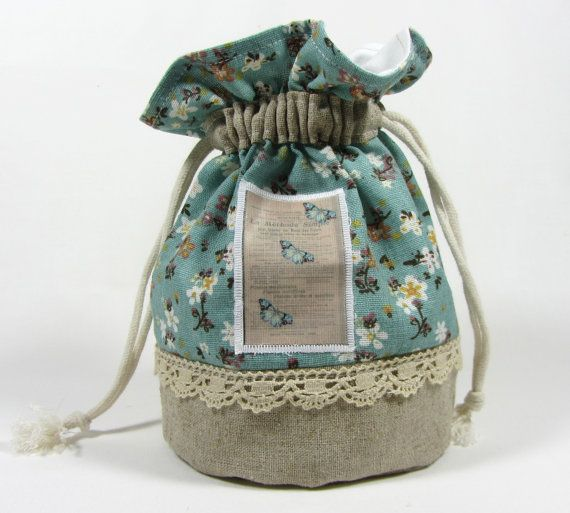Linen pouch drawstring bag ♥ by JRsbags on Etsy, €18.00