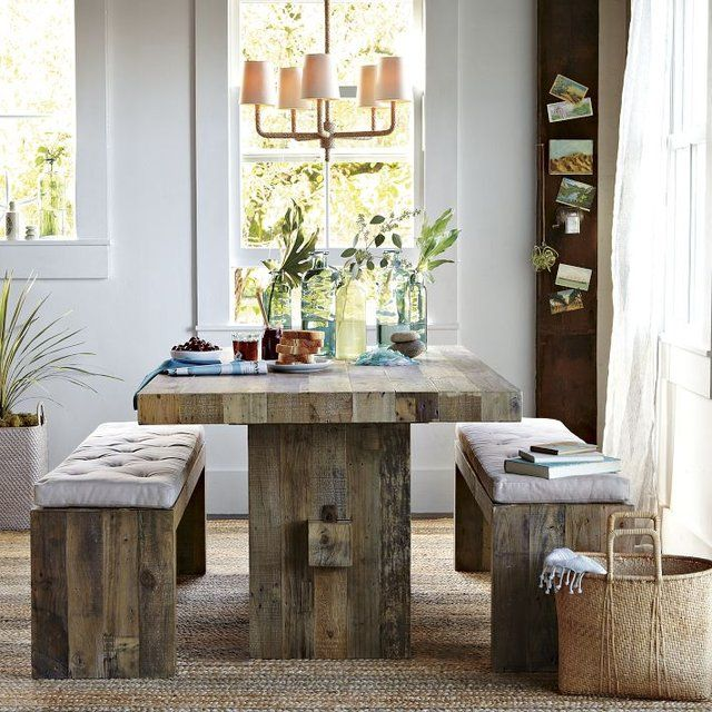 Emmerson Dining Table Reclaimed, relaxed and refined. The trestle-style Emmerson Dining Table is made from reclaimed solid pine certified by the Forest Stewardship