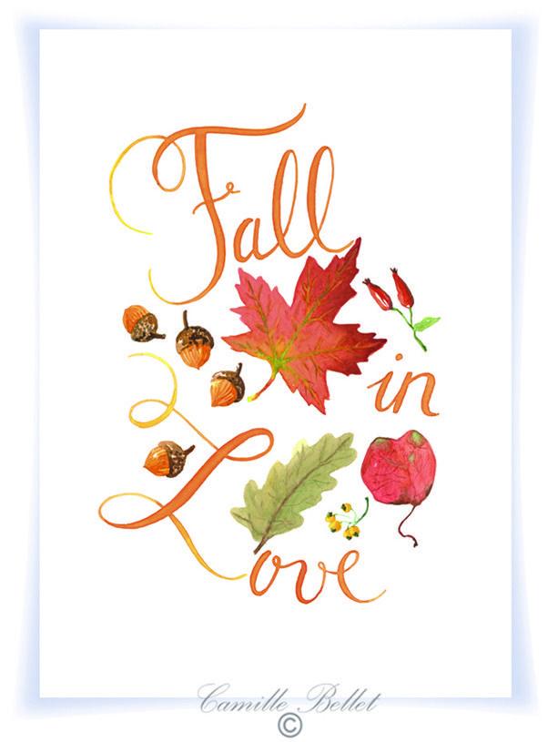 "L'automne : ""Fall in love "" illustration calligraphiée à l'aquarelle- impression…"
