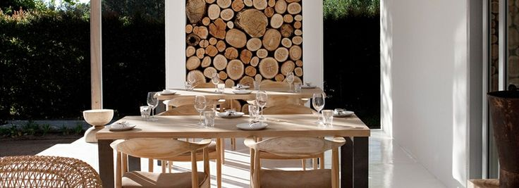 Decor: Niches filled with logs