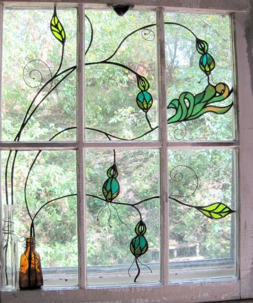 Beautiful stained glass window!  Would love something this simple and beautiful, maybe with a bee and flowers for my kitchen window.