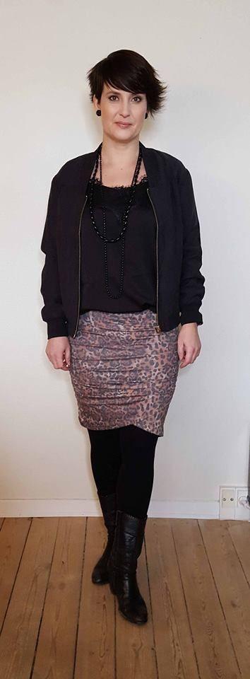 Anne Dorthe Larsen in Jillian top, Jeanna leopard print skirt  and Jones bumber jacket from Black Swan Fashion SS17