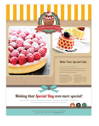 Cake shop flyer template will be a good choice for presentations on bakery. Find flyer templates - download, edit & print!    SKU : FY090152LT  Page Size : 8.5in x 11in  Fold Type : No Fold  Purchase Includes : Artwork, Images & Fonts  Software Requirement : Adobe Illustrator CS5    http://dlayouts.com/13-All-Items/628-Cakery-Flyer-Template/flypage.tpl.html