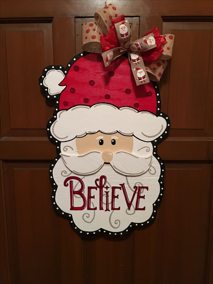 Santa Believe wooden door hanger