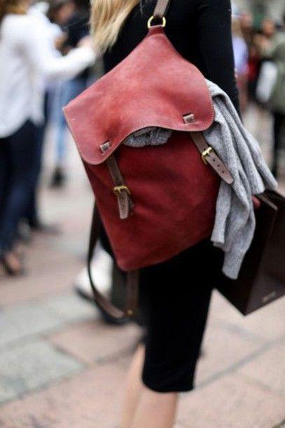 Bag: red, backpack, leather backpack, hipster - Wheretoget