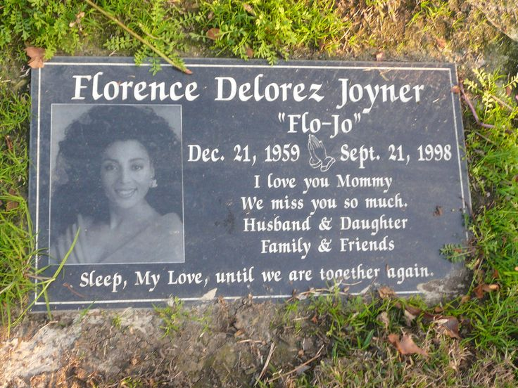 "Florence Griffith ""Flo-Jo"" Joyner - American track and field athlete. She is considered the fastest woman of all time based on the fact that the world records she set in 1988 for both the 100 m and 200 m still stand and have yet to be seriously challenged. She died in her sleep as the result of an epileptic seizure in 1998 at the age of 38."