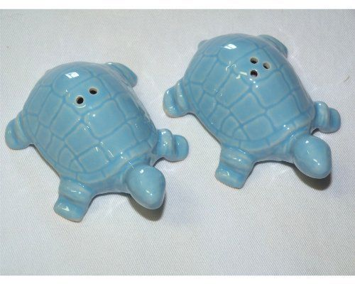 "Tropical Nautical Turtle S/P Salt & Pepper Shakers by Sadek. $12.99. Ceramic. Each piece measures 3.5"" x 2.5"" x 1.25"". Tropical Nautical Turtle S/P Salt & Pepper Shakers Aqua. Save 28% Off!"