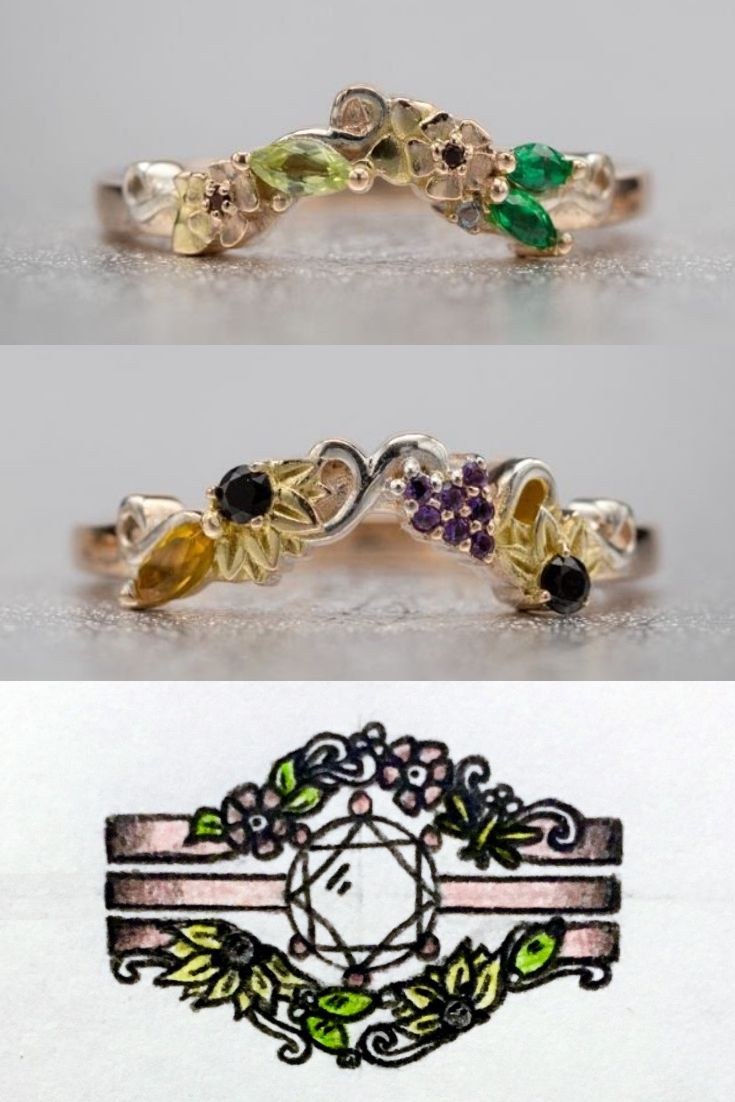 Inspired by the Black Hills gold jewelry design style, these nature-inspured wedding rings feature three hues of gold (rose, white and yellow) and seven birthstones (black onyx,  rhodolite garnet,  emerald,  citrine, peridot, amethyst, and aquamarine). Sunflowers and aspen leaves on the enhancer bands create an extraordinarily personal floral wreath to complement an eye-popping solitaire engagement ring.