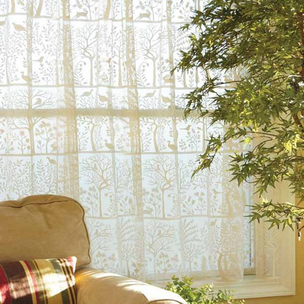 Rabbit Hollow White Lace Curtain Panel and Tiers by Heritage Lace