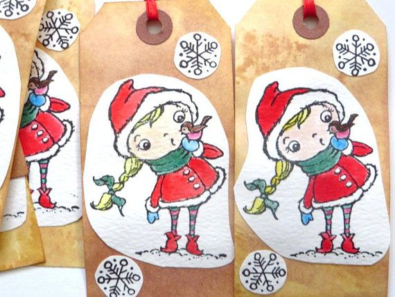 Handmade Gift Tags by MouseGarden on Etsy.  A hand colored Christmas elf, image by Stampendous.