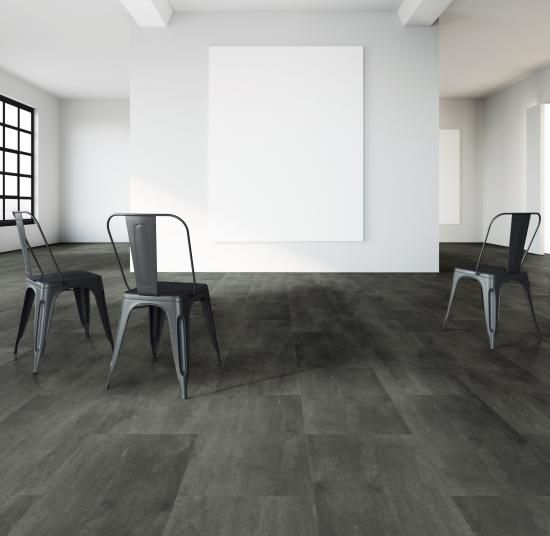 Šedá vinylová podlaha se vzorem oceli, podlahy BOCA. / Gray vinyl flooring Expoan with the steel design.  http://www.bocapraha.cz/cs/aktualita/80/vinylova-podlaha-jako-zmackany-papir-nebo-rezavy-plech/