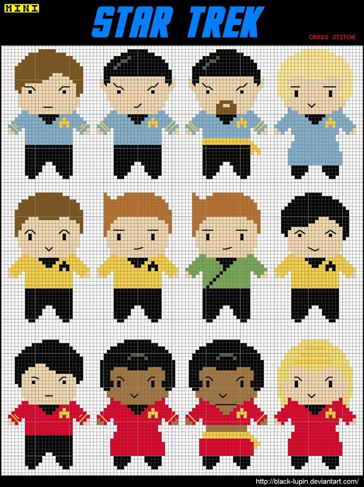 Love the midriff baring Uhura at the bottom...12 Mini Star Trek Cross Stitch by *black-lupin on deviantART