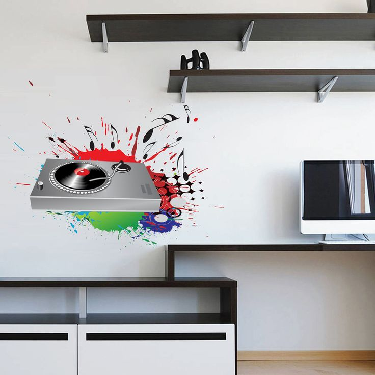 cik526 Full Color Wall decal Mixer DJ electronic music room Bedroom
