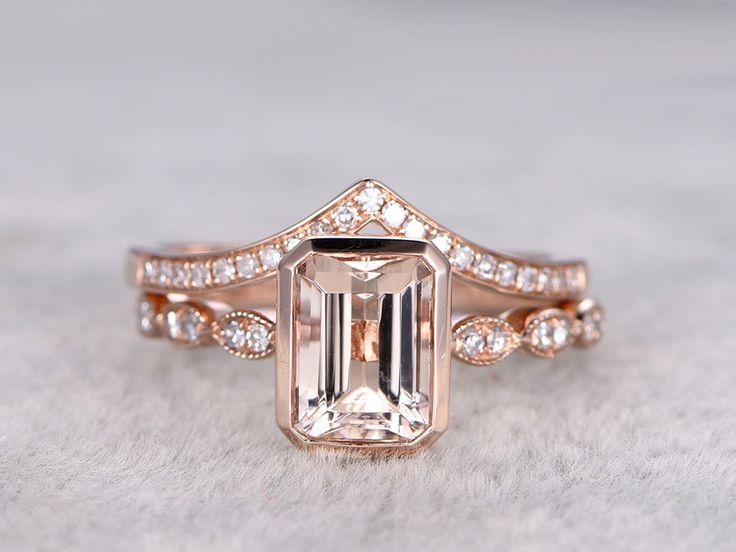 Rose Gold Morganite Wedding Set Diamond Curved V Half Eternity Ring Emerald Cut Stacking Band 14k/18k - BBBGEM