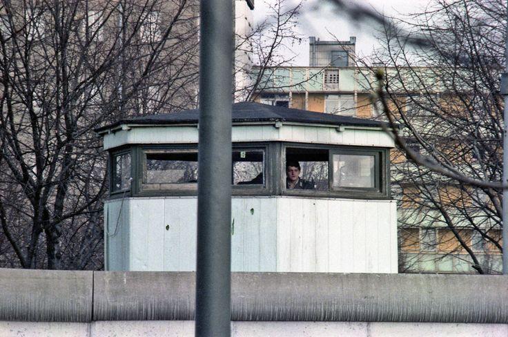 Berlin: A guard tower by the Brandenburg Gate. 1981.