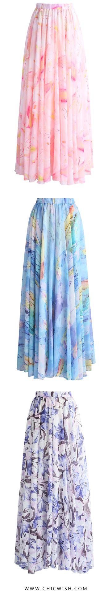 43% OFF Limited Time Sale! New Chiffon Maxi Skirts