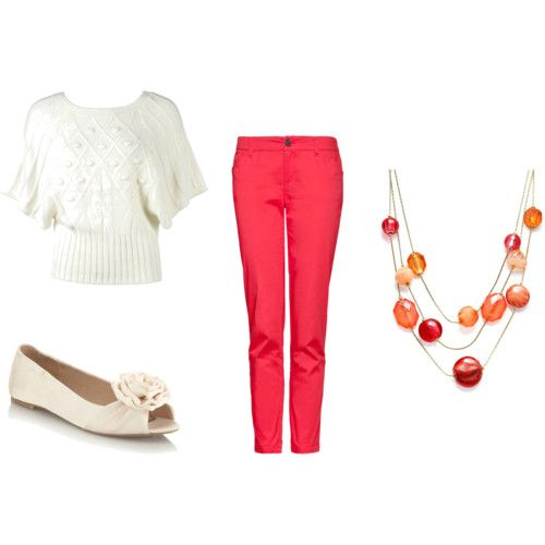 coral tapered pants! Would totally wear this outfit to the office.