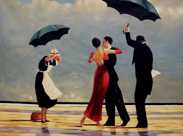 Schilderij Dansen op het strand