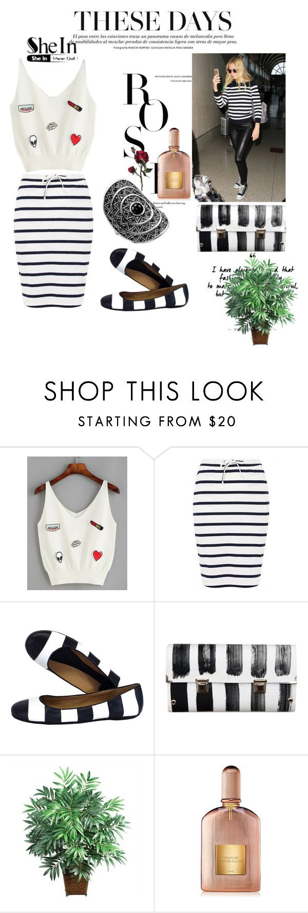 """Shein"" by loveliest-back ❤ liked on Polyvore featuring Kerr®, Ichi, Kate Spade, Spanaki, Thomas Sabo, Nearly Natural and Tom Ford"