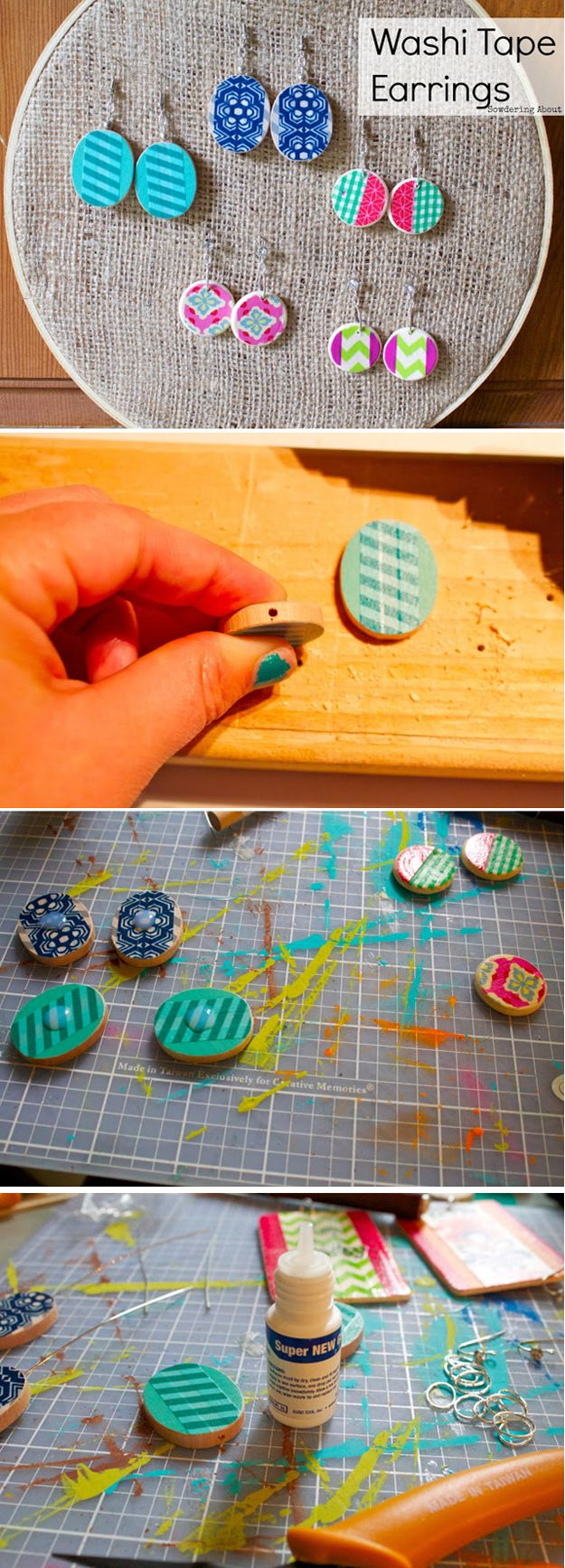 Cheap and Creative DIY Jewelry with Washi Tape | http://diyready.com/100-creative-ways-to-use-washi-tape/