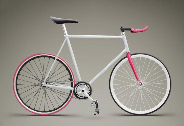 Clean white pink fixed gear bike!