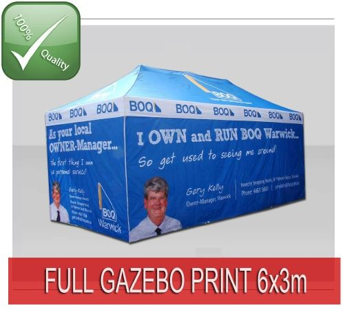 TENTFLAG.COM - FULL PRINTED GAZEBO TENT - This Tent is including High Quality Sublimation print on the valances of the roof, where you can place your logo, web address etc. This gives you a personalised Promotion Tent for a small price!