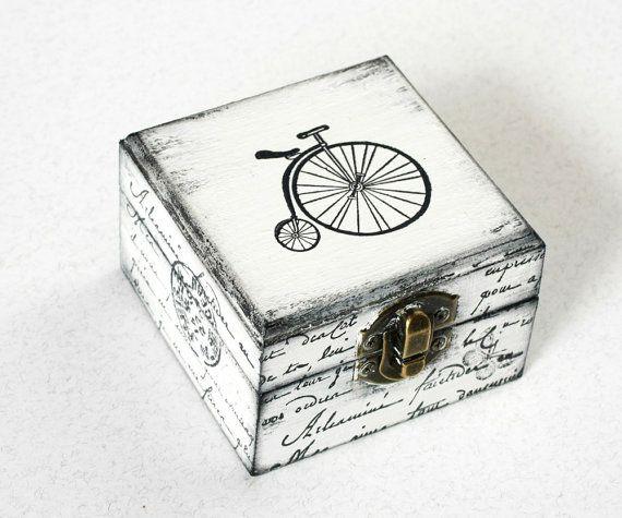 Caja de tesorería de bicicleta blanca, caja de joyería, caja de madera, caja de tesorería, caja de joyería, apenado