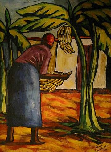 Acrylic Painting - Picking Bannanas by Peter Kwangware