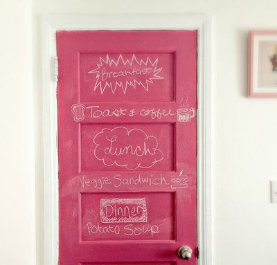 Pink chalkboard paint for closet doors.  Great idea for my little artist!