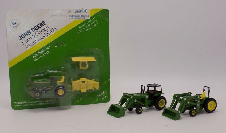Ertl John Deere 1-425 Lawn & Garden Tractor 2-Tractor with Loaders 1:64 Scale  #Ertl #JohnDeere