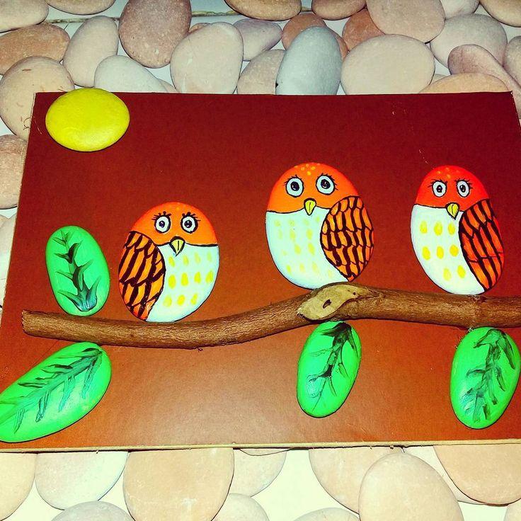 """5 Likes, 1 Comments - Rafa Pebble Art (@himawan_hijirosan) on Instagram: """"Pebble art : The owls #pebblebeach #pebble #pebbleartwork #handmade #handmadeart #homedecor…"""""""