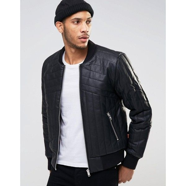 Bellfield Quilted Padded PU Bomber Jacket ($68) ❤ liked on Polyvore featuring men's fashion, men's clothing, men's outerwear, men's jackets, black, mens padded bomber jacket, mens padded jacket, mens quilted jacket, mens zip up jackets and tall mens jackets