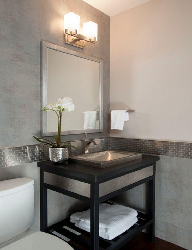 202 best bathroom lighting images on pinterest bathroom for Powder room light fixtures