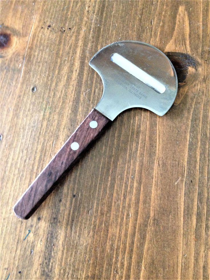 Vintage Midcentury Danish Modern Cheese Slicer wood handle utensil 1960s wood metal serated edge food tool gadget kitchen kitsch metal by Piklandia on Etsy