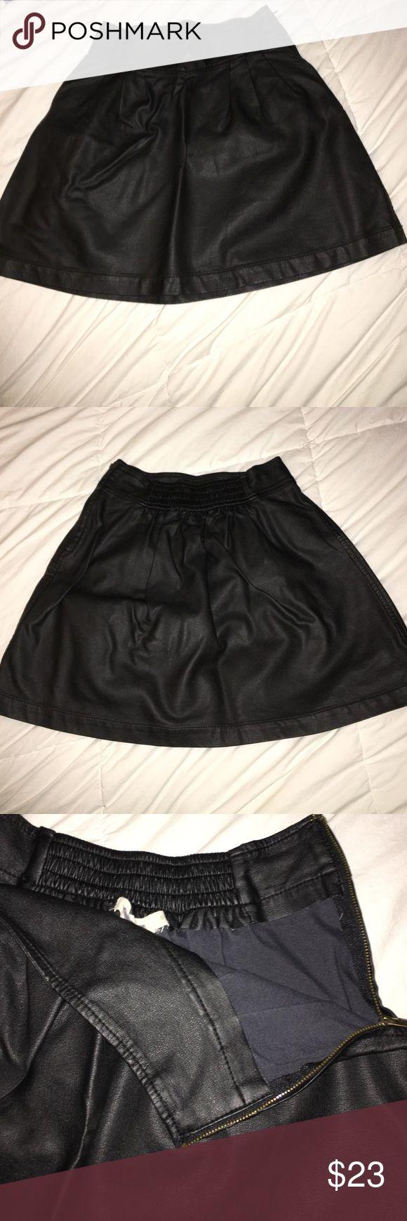 Vegan Leather Skater Skirt Silence + Noise Urban Outfitters Skater Skirt size small elastic waistband in back silence + noise Skirts Circle & Skater