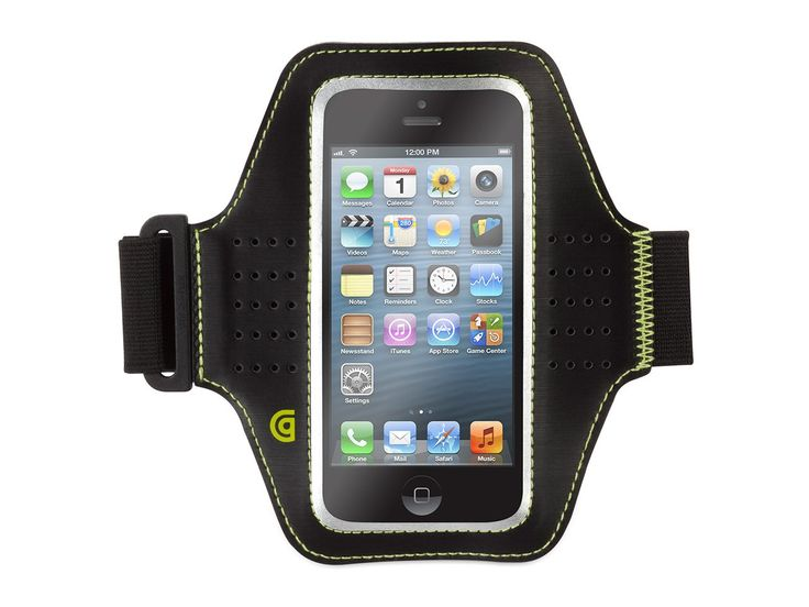 """Griffin Trainer Neoprene Armband case for iPhone 5 & iPod touch (5th gen.) - Breathable & adjustable neoprene armband. Stretch armband adjusts to fit arms up to 19"""" in circumference. Lightweight PU frame and touch-through vinyl window gives easy access to your touchscreen. Neoprene sleeve has custom cut-out for headphone jack. Compatible with: iPhone 5, iPhone 5c, iPhone 5s."""