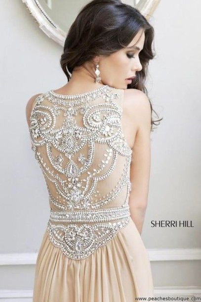dress sherri hill prom gorgeous sherri hill cream dress sherri hill prom dress formal dress prom gown laceback classy dress celebrity girly girls hot sexy beautiful pretty amazing jewels jeweled sparkly shiny glitter glittery beaded dress full back straps nude dress detailed back sheri hill beige pale beaded champagne beaded back cream silver open back long PLL Ice Ball wedding clothes boho chic embroidered wedding dress backless dress a line dres a line wedding dresses jeweled dress gold…