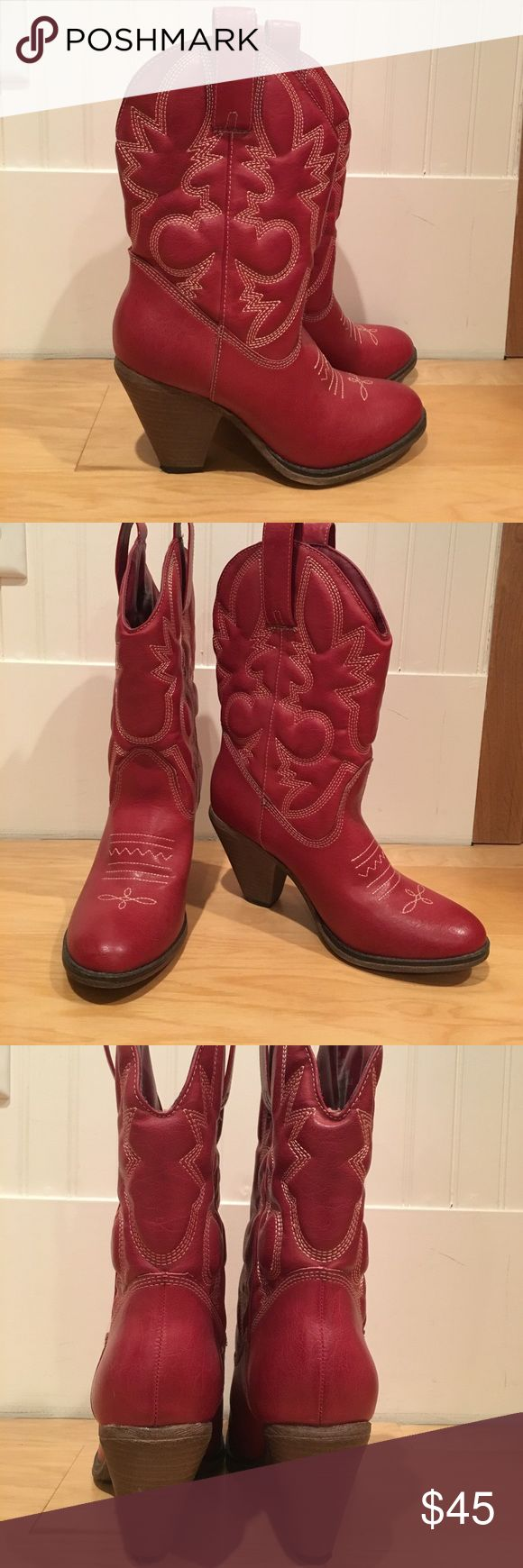 Red cowboy boots Red heeled cowboy boots. Super comfy! Shoes Heeled Boots