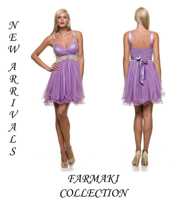 Φόρεμα κοντό με ράντες κεντημένες. Κέντημα κάτω από το στήθος. Ύφασμα τούλι.