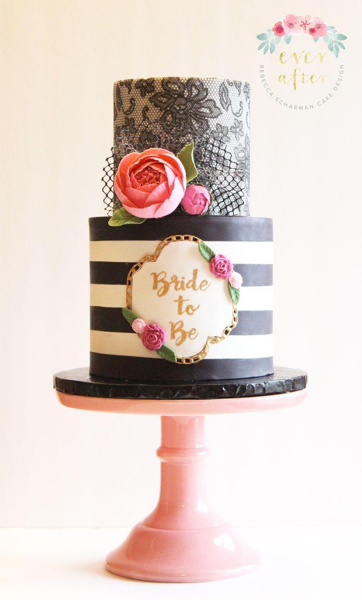 @everaftercake A modern and feminine bridal shower cake.