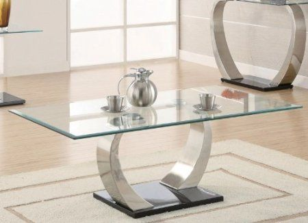 Amazon Coffee Table With Glass Top In Silver And Black Metal Base