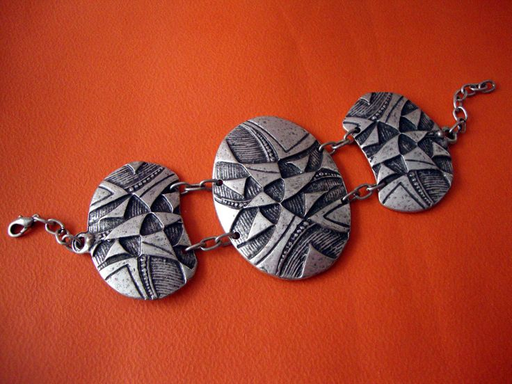 Modern Style Oxidized Tribal Pattern Custom Jewelry Pewter Bracelet Adjustable Length 16 - 20 cm by SilveradoJewellery on Etsy
