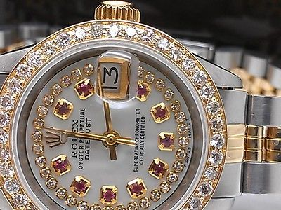LADIES ROLEX DATEJUST 14K SOLID GOLD /SS DIAMOND BEZEL PEARL RUBY DIAL DATE 7inc in Jewelry & Watches, Watches, Parts & Accessories, Wristwatches | eBay