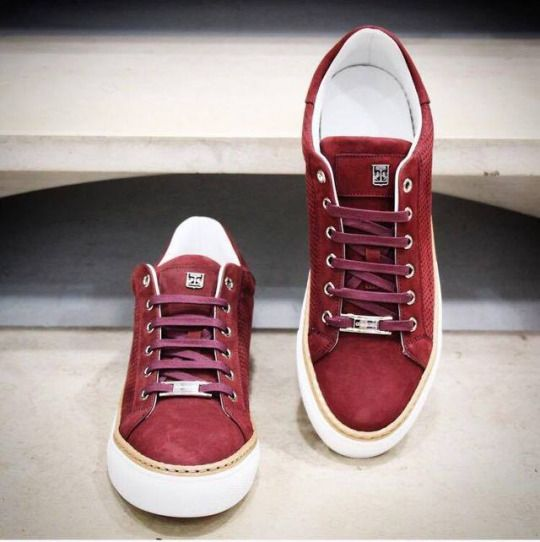 Corneliani burgundy sneakers in suede.    Available at: https://www.incrocio.gr/…/sneake…/corneliani-sneakers-1.html    #corneliani #fashion