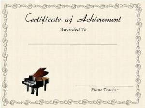 Tan Certificate of Achievement with Piano Stamp and Treble Clef Border, Editable