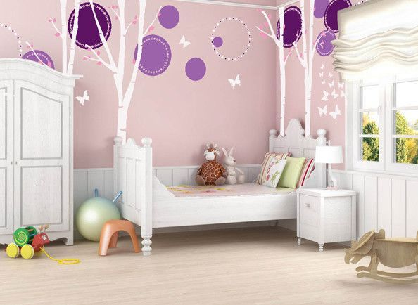 Nice 4 Big Birch Trees with Flying Butterflies Beautiful Wall Decal