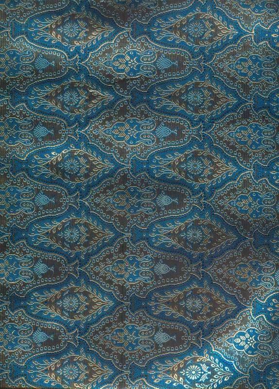 "100% Pure Silk Brocade~Width 44""Peacock Blue & Black colour"
