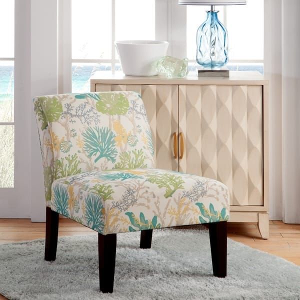 Best Armless Slipper Accent Chair Light Blue Blue Beige White 640 x 480