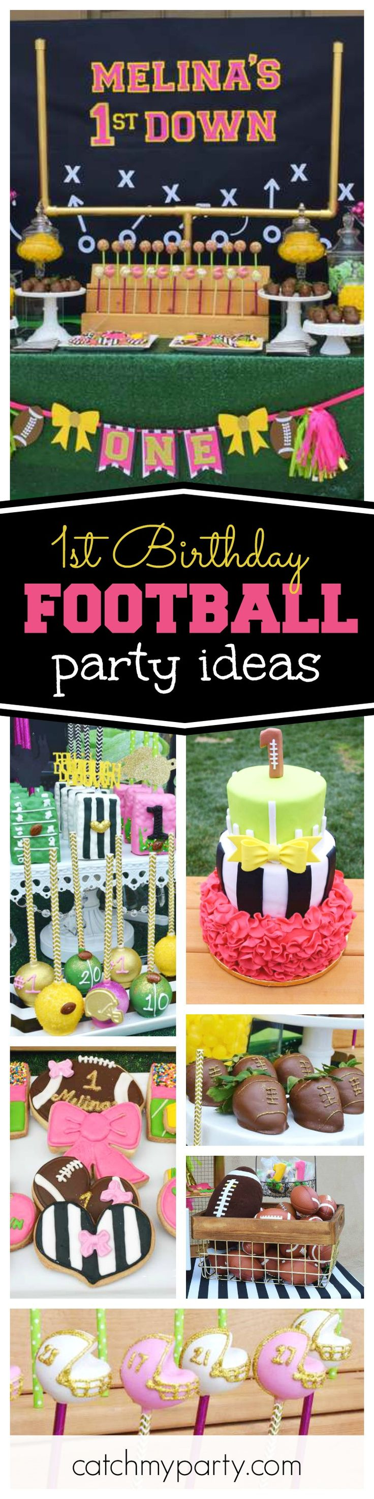Check out this awesome Football themed 1st birthday party! The helmet cake pops are so cute!!  See more party ideas and share yours at CatchMyParty.com