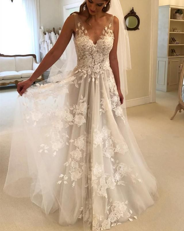 f828439b91 Princess Style A-line V-neck Tulle Floor Length Wedding Dresses Lace  Embroidery | Someday wedding | Wedding dresses, Applique wedding dress, V  neck wedding ...
